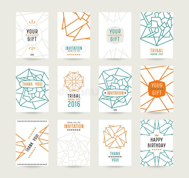 Set of vector poster templates with geometric drawing vector illustration