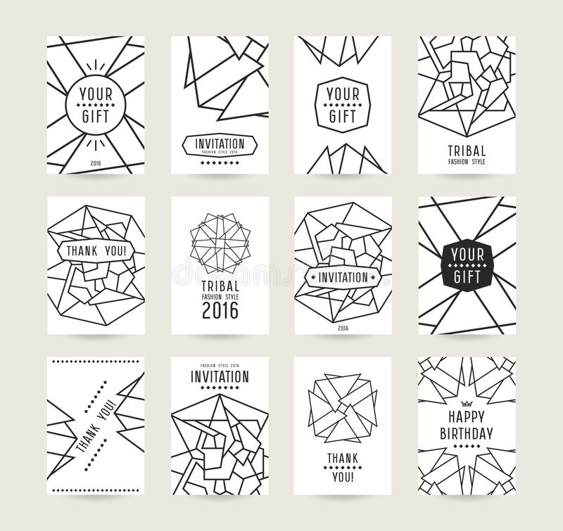 Set of vector poster templates with geometric drawing royalty free illustration