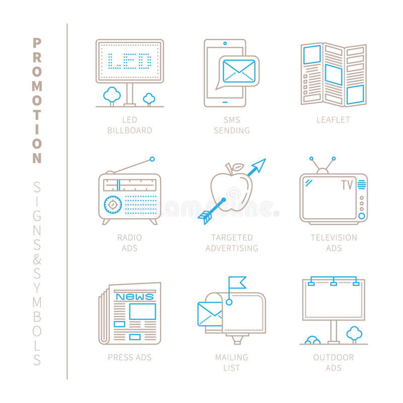 Set of vector promotion icons and concepts in mono thin line style.  vector illustration