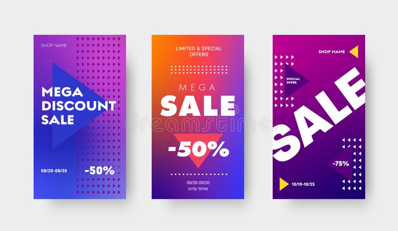 Set of vector purple gradient banners with triangles and a discount of 50 and 75% for a big sale, special offers. Design template for social media, stories and vector illustration