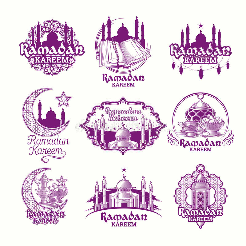 Set vector purple illustrations, sign for Ramadan Kareem with lantern, towers of mosque, crescent royalty free illustration