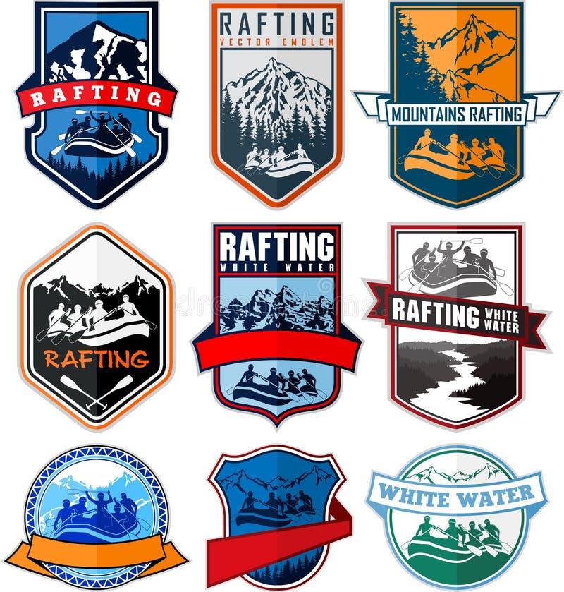 Set of vector rafting emblems labels vector illustration