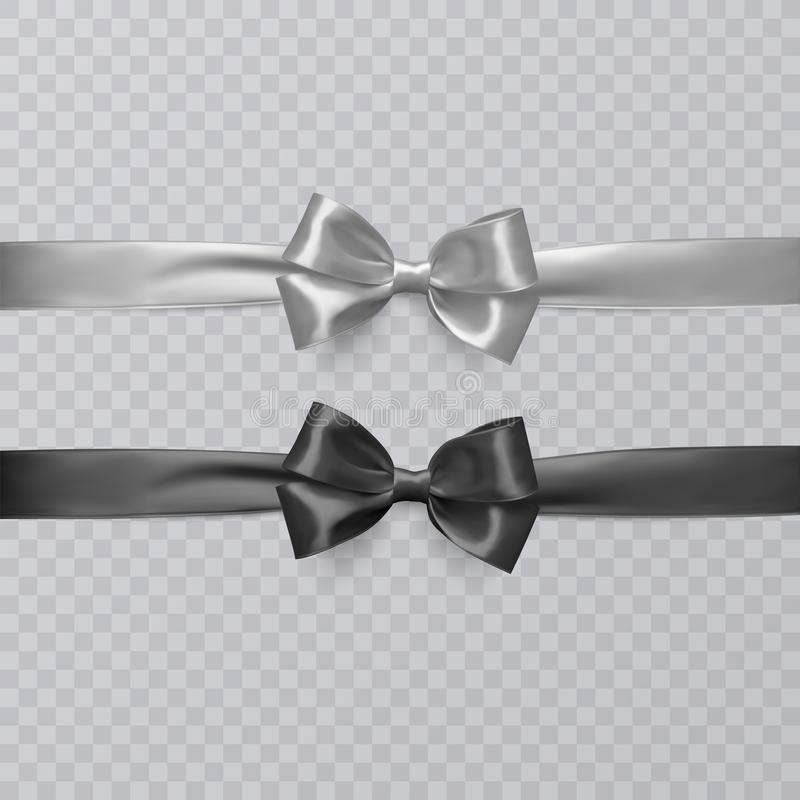 Set of vector realistic black and wight ribbon and bows on transparent background. Vector eps 10. Set of vector realistic black and wight ribbon and bows on vector illustration