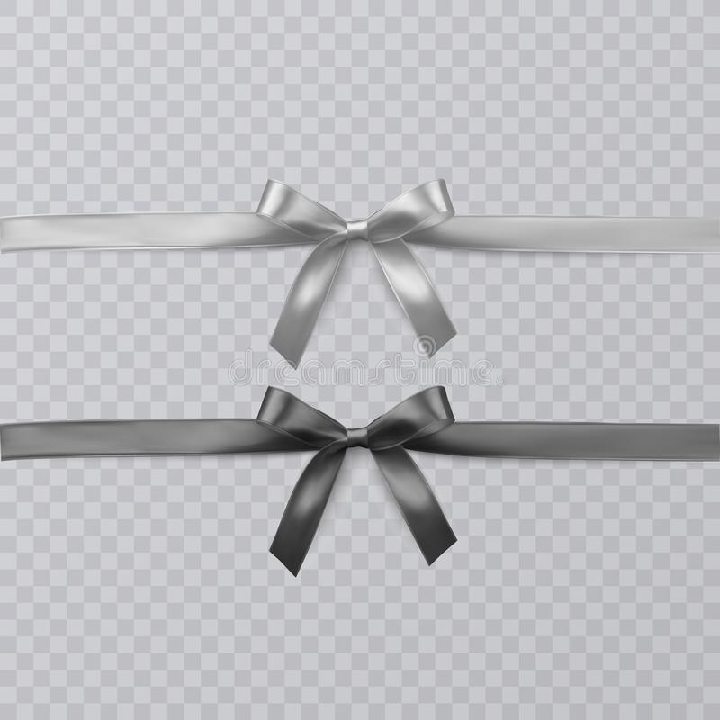 Set of vector realistic black and wight ribbon and bows on transparent background. Vector eps 10. Set of vector realistic black and wight ribbon and bows on stock illustration