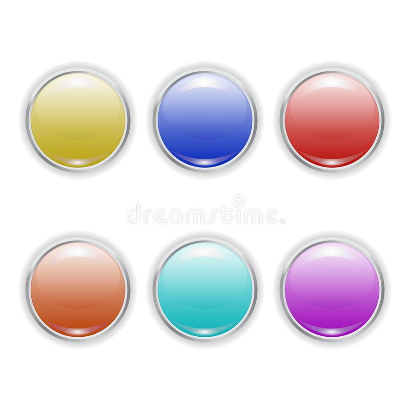 Set Vector realistic color plastic buttons with metal frame stock illustration