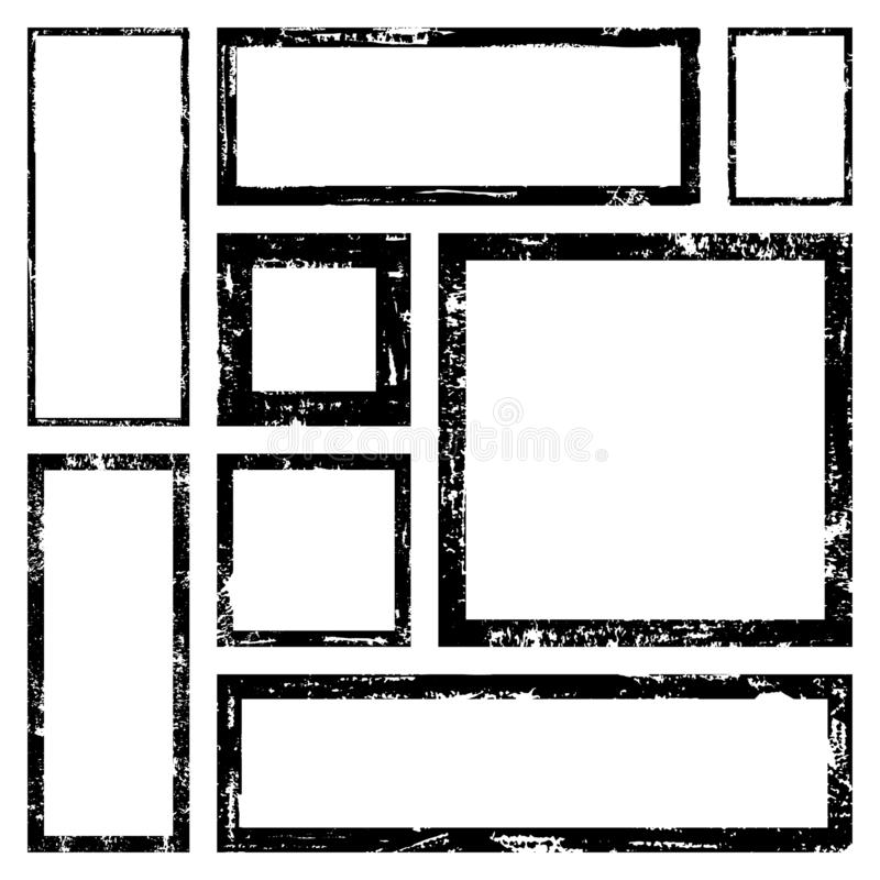 Vector Frames. Squares and rectangle for fill image. Distress texture with dirt effect. Set of Vector rectangles frames for image with distress texture . Grunge vector illustration