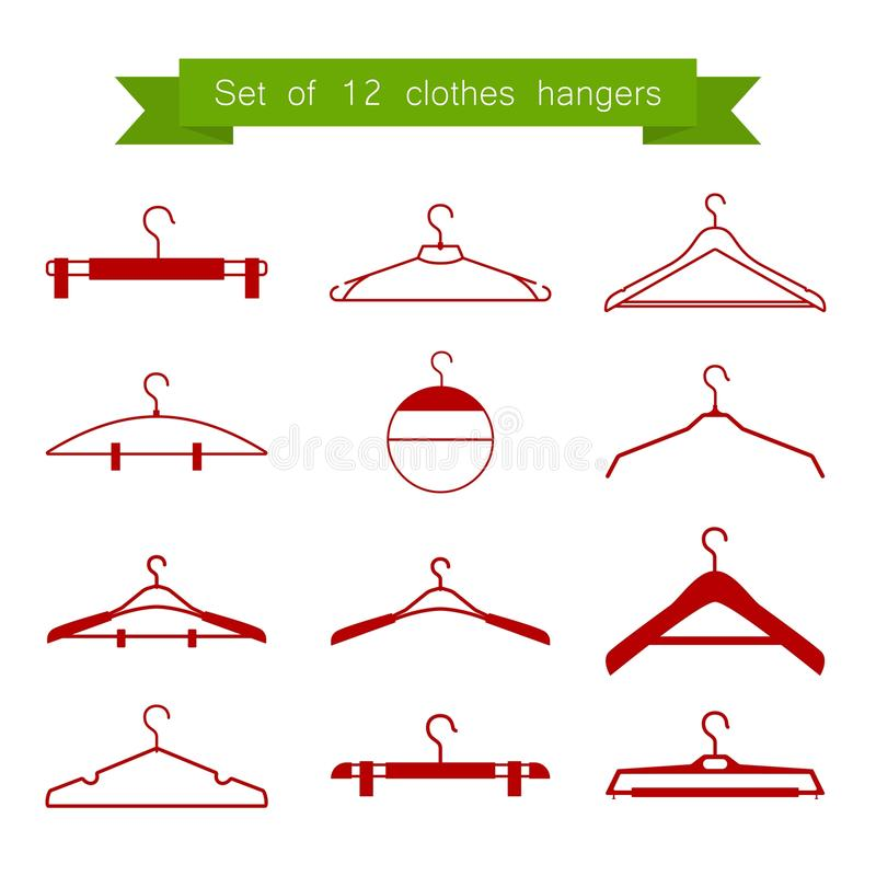 Set of 12 vector red clothes hangers vector illustration