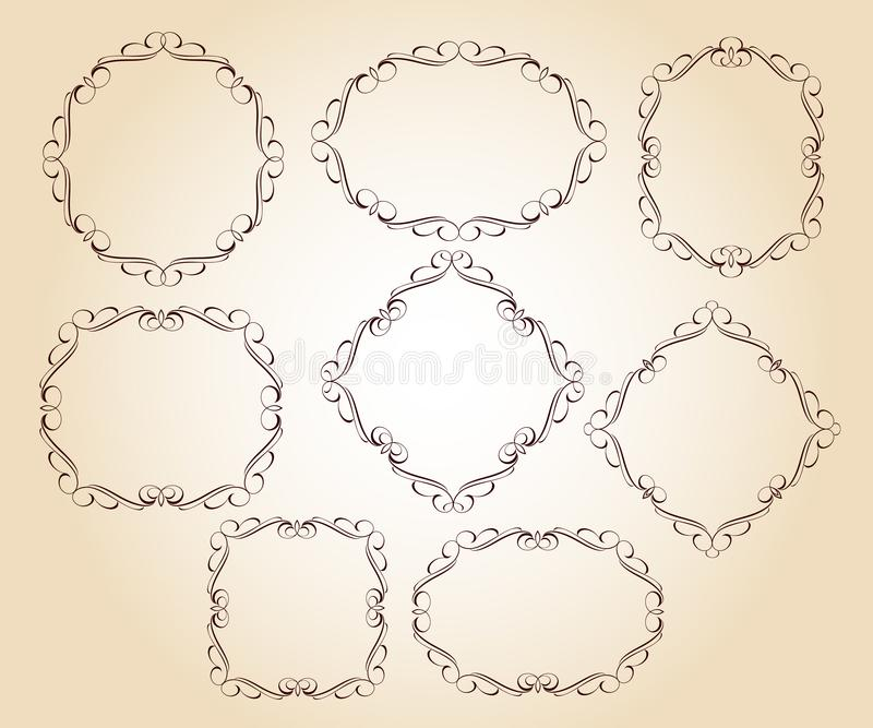 Set vector retro frames .Vector illustration.Brown beige. vector illustration