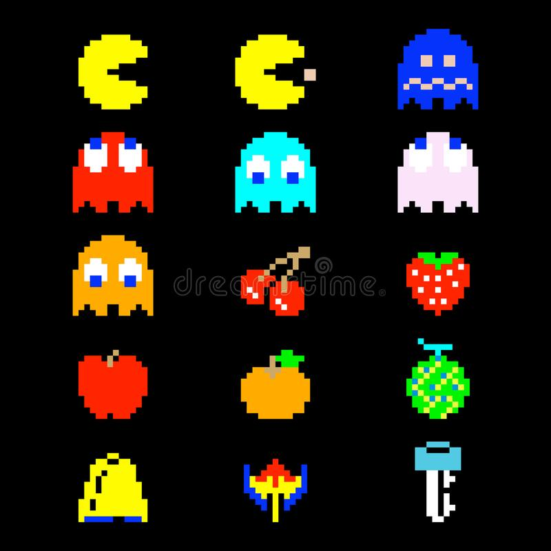 Pacman Icons royalty free illustration