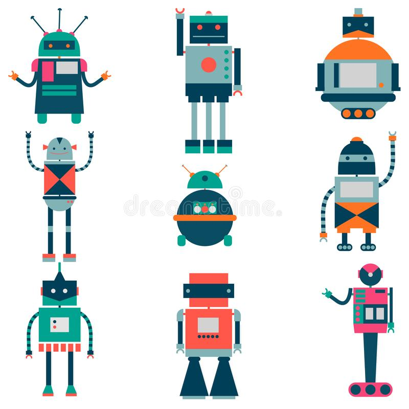 Set of vector robots in cartoon style. Isolated vector robots in a white background stock illustration