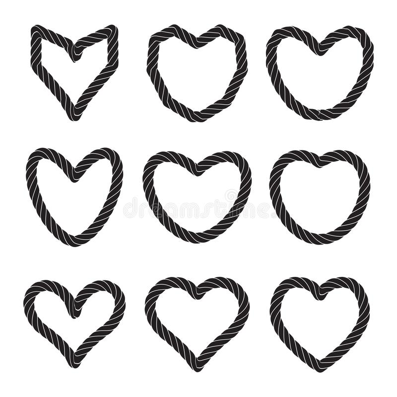 Set of Vector Rope Heart Icons or Love Symbol Isolated. Set of twisted vector heart rope icon or cordage love symbol with loops isolated. Decorative twisted jute royalty free illustration