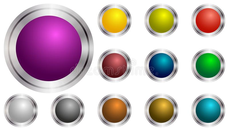 Set of vector round buttons violet, green, yellow, blue,. Violet transparent play button with shadow. Set of vector icon. Set round color buttons. Silver bezel stock illustration