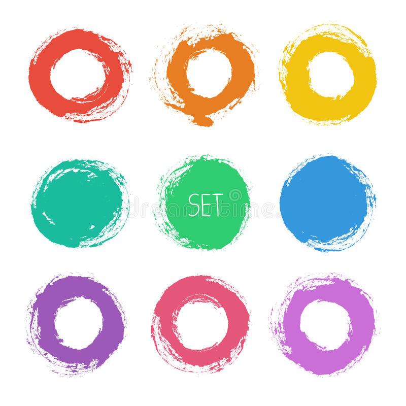 Set of vector round grunge frames. Hand drawn. Design elements stock illustration