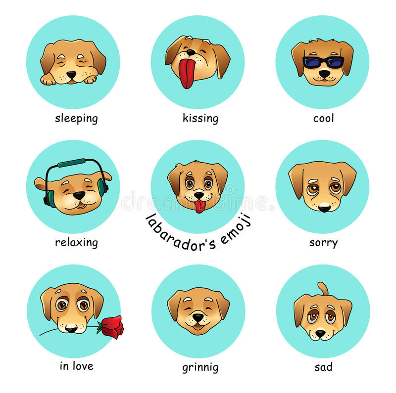 Download set of vector round stickers emojis with dog stock vector illustration of animal