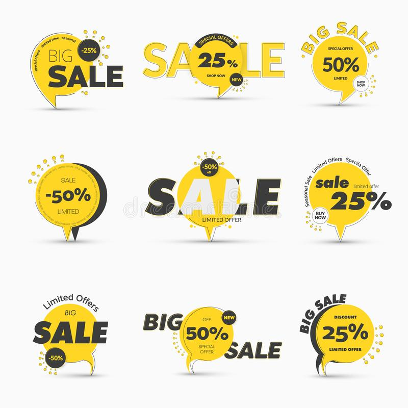 Set of vector round tags on the leg for mega big sale. Temolate of yellow banners with percentages of discounts and special offers and black design lines and royalty free illustration