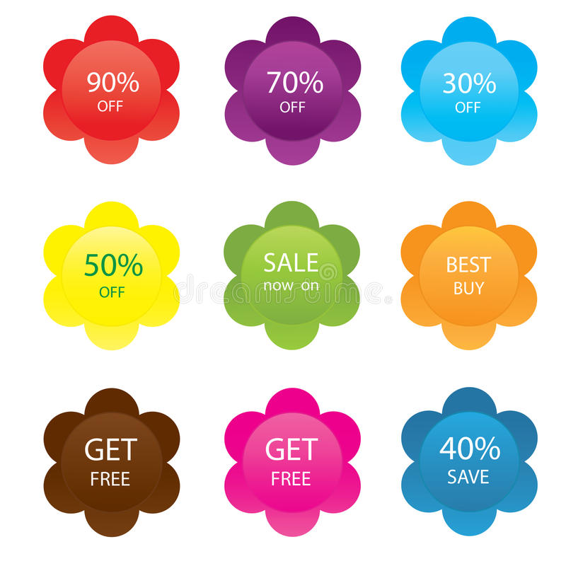 Download Set of vector sale labels stock vector. Image of reduction - 26456466