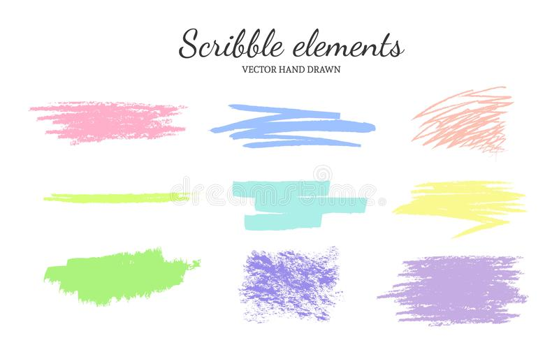 Set of vector scribble, smears pastel 2 royalty free illustration
