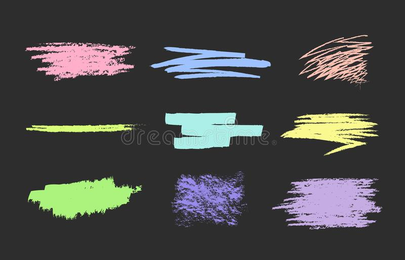 Set of vector scribble, smears pastel royalty free illustration