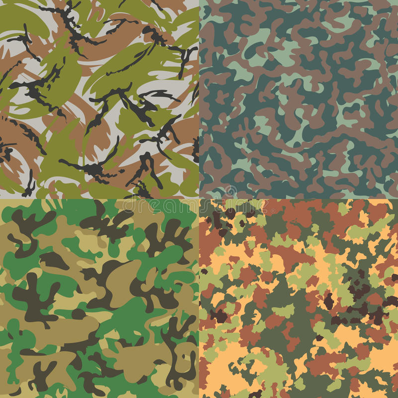 Set of vector seamless camouflage patterns. Four royalty free illustration