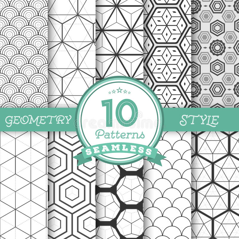 Set of 10 Vector Seamless Geometric Lines Pattern Backgrounds fo stock illustration
