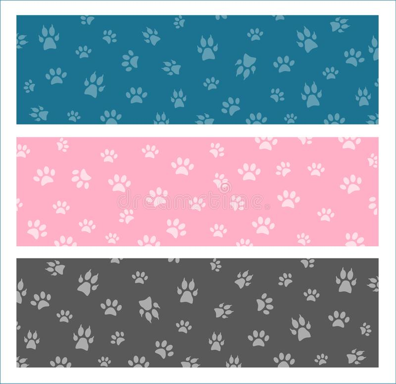 Set Vector seamless pattern and background with icons footprint royalty free illustration