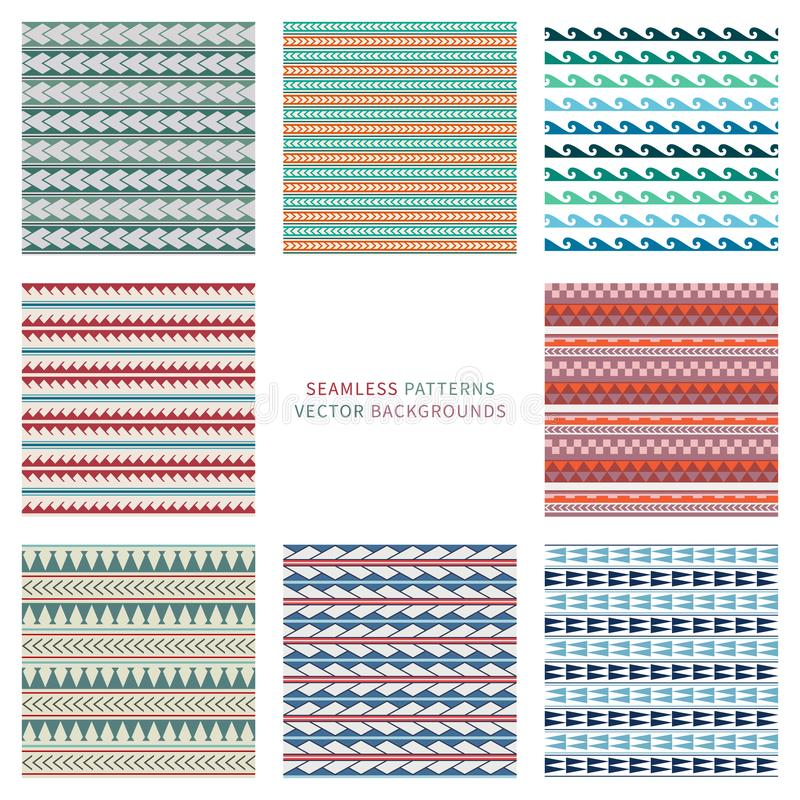 Set of vector seamless pattern in boho, ethnic, maori tattoo style. Colored geometric simple border vector illustration