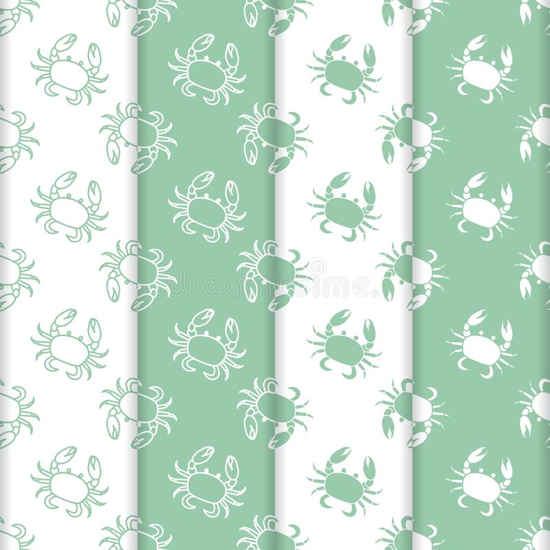 Set of 4 vector seamless pattern with crabs. stock illustration