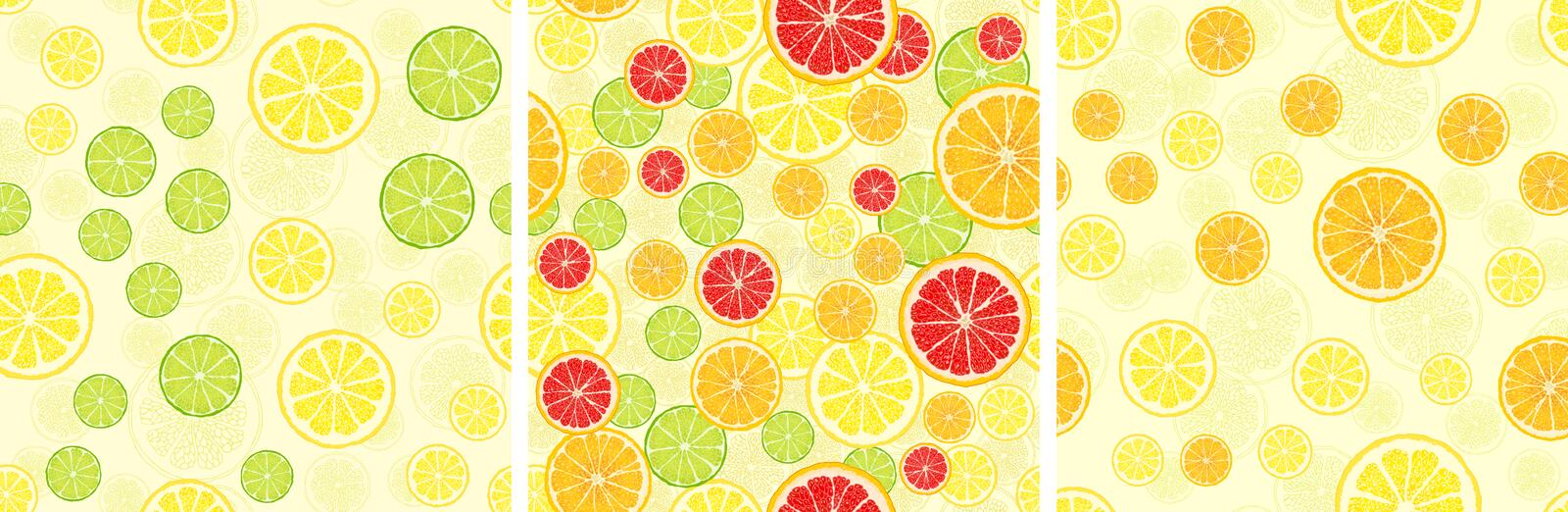 Set of vector seamless pattern with fruit slices. stock illustration
