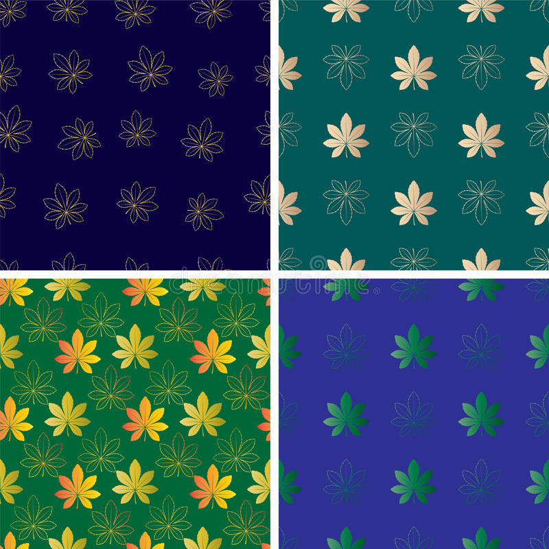 Set of vector seamless pattern with leaves vector illustration