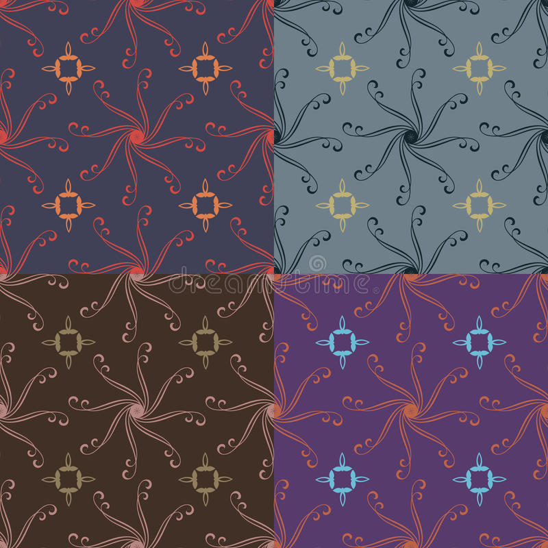 Set of vector seamless patterns. Set of abstract seamless patterns in four colors vector illustration