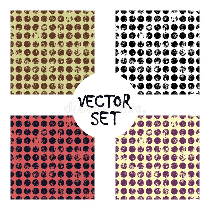 Set of vector seamless patterns Creative geometric backgrounds with lines, diagonal, circles, dots.Texture with attrition, cracks royalty free illustration