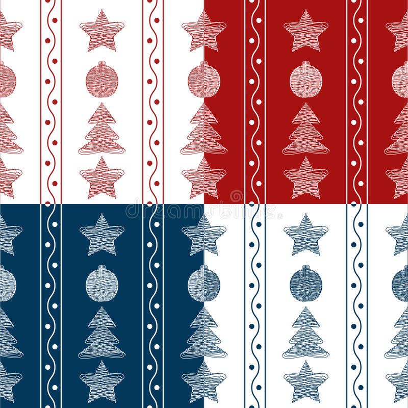 Set of vector seamless patterns garland of Christmas toys stock illustration