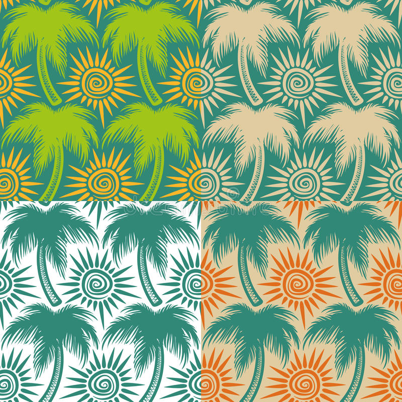 Set of vector seamless patterns with palm trees and sun. EPS10 royalty free illustration
