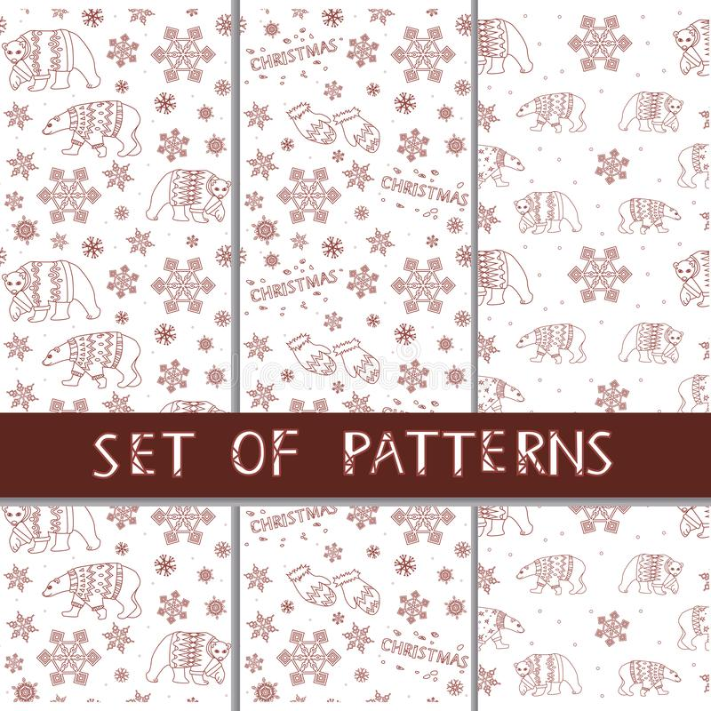A set of vector seamless patterns with red linear bears, snowflakes and mittens Christmas and New Year. A linear Christmas seamless pattern for printing on vector illustration