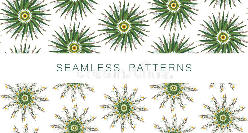 Set of vector seamless patterns with round green floral mandalas. Yoga template. Mandala made of daffodils. Floral stock illustration