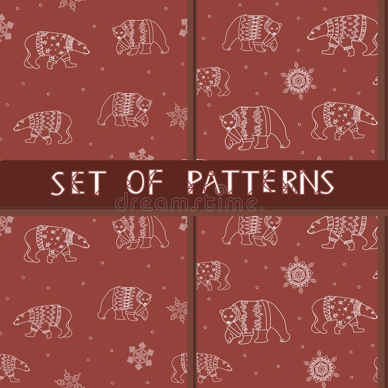 A set of vector seamless patterns with white outline polar bears and snowflakes for print. A vector seamless pattern with cute christmas bears and snow on a red royalty free illustration