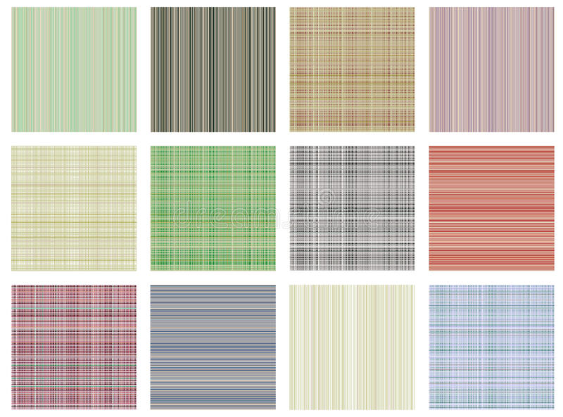 Set of vector seamless textures. Pastel different checkered, lined backgrounds in pastel colors, fabric swatch samples texture of royalty free illustration
