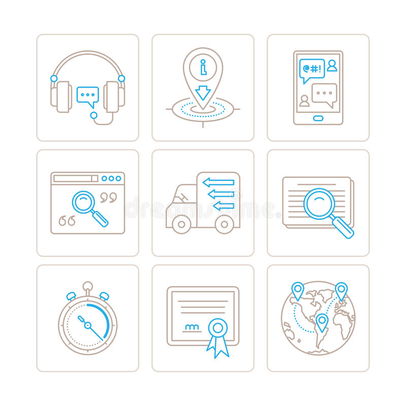 Set of vector service or support icons and concepts in mono thin line style.  stock illustration