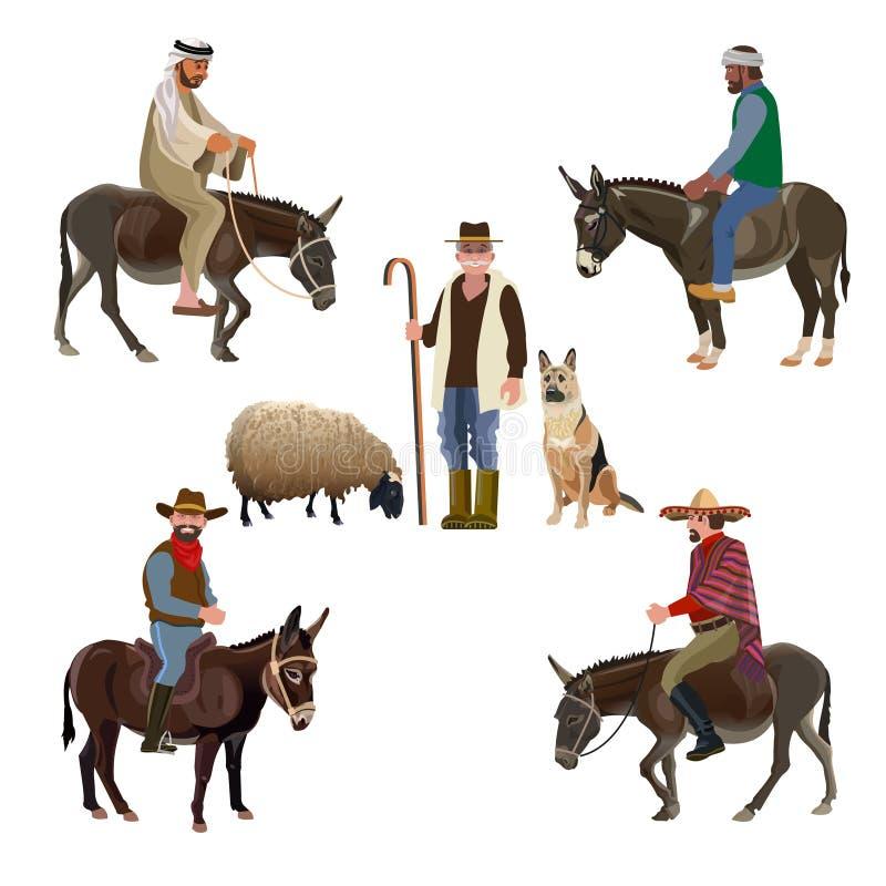 Set of vector shepherds royalty free illustration