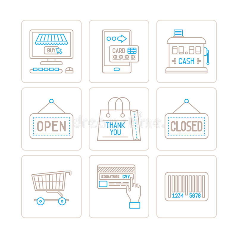 Set of vector shopping icons and concepts in mono thin line style.  royalty free illustration