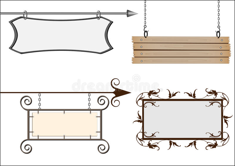 Set of vector signboards vector illustration