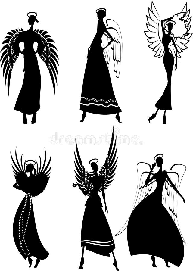 Set Of Vector Silhouette Angels vector illustration