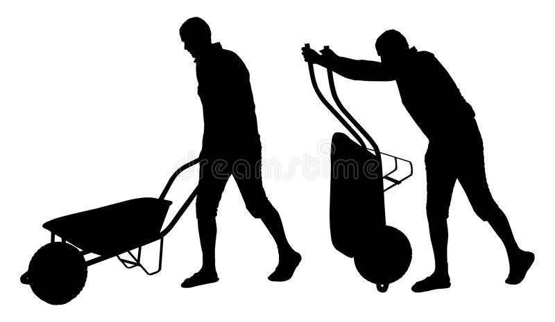Set of vector silhouettes of a man carrying wheelbarrow. stock illustration