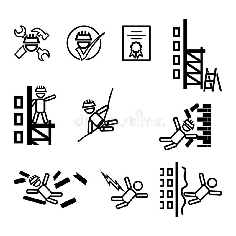 Set of vector simple icons on the topic of construction safety. Black and white symbols of builders, brick wall, scaffolding, stock illustration