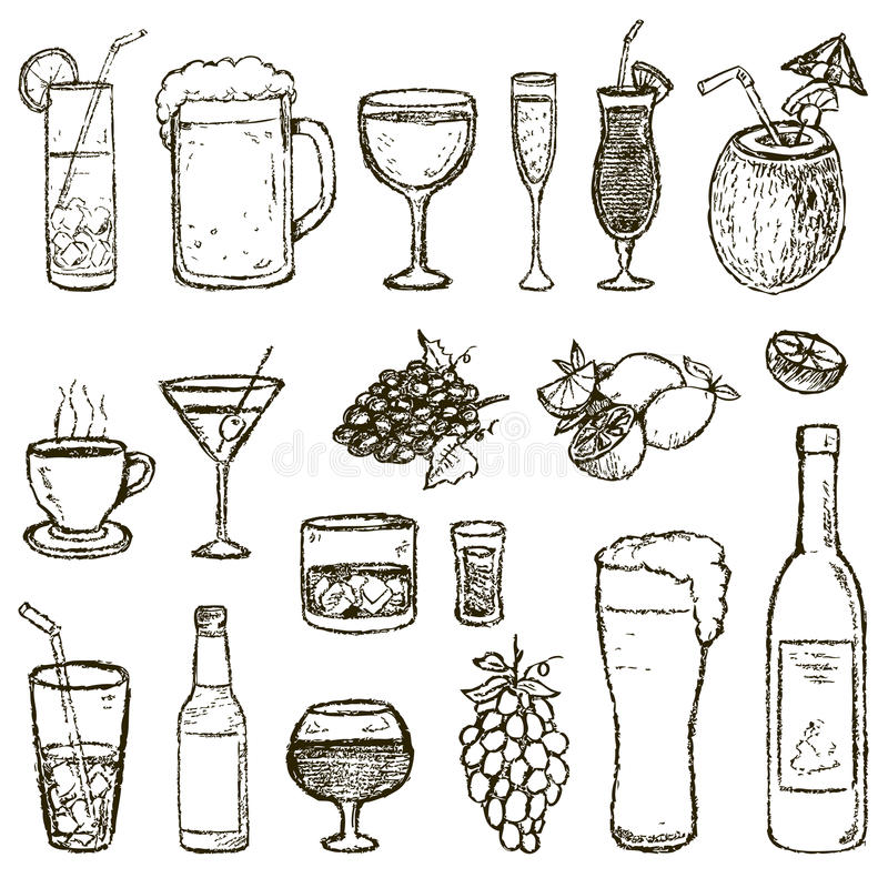Set of vector Sketch Cocktails and Alcohol Drinks. Set of Sketch Cocktails and Alcohol Drinks vector illustration stock illustration