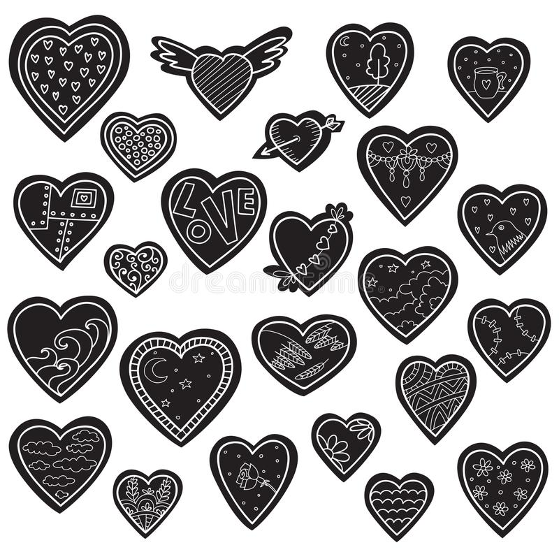 Set of vector sketch hearts isolated on white. Valentines days vector illustration
