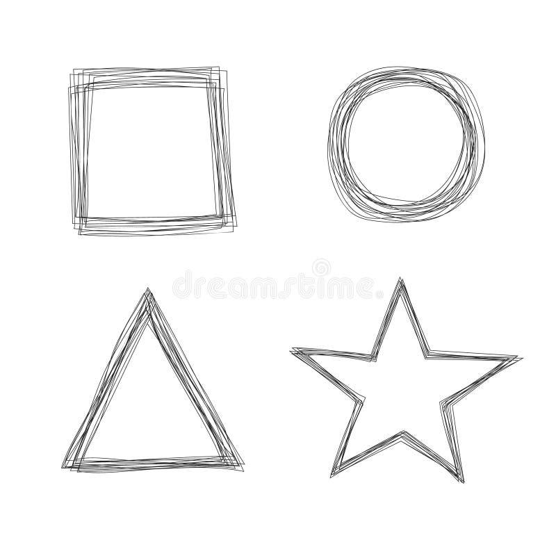 Set Of Vector Sketchy Scribble Line Shape Frames Stock Vector