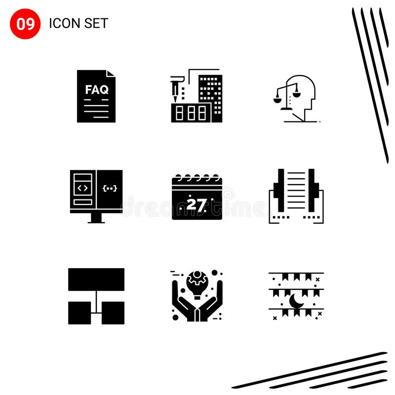 Set of 9 Vector Solid Glyphs on Grid for develop, coding, home, app, integrity. Pack of 9 creative Solid Glyphs of develop, coding, home, app, integrity Editable royalty free illustration