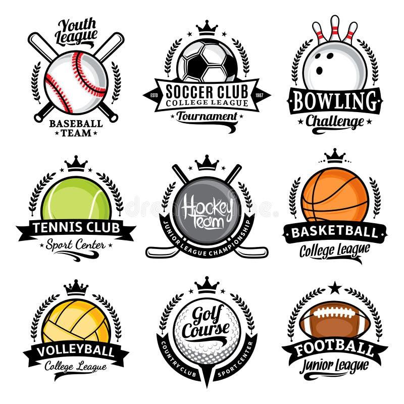 Set of vector sport emblems and labels royalty free illustration