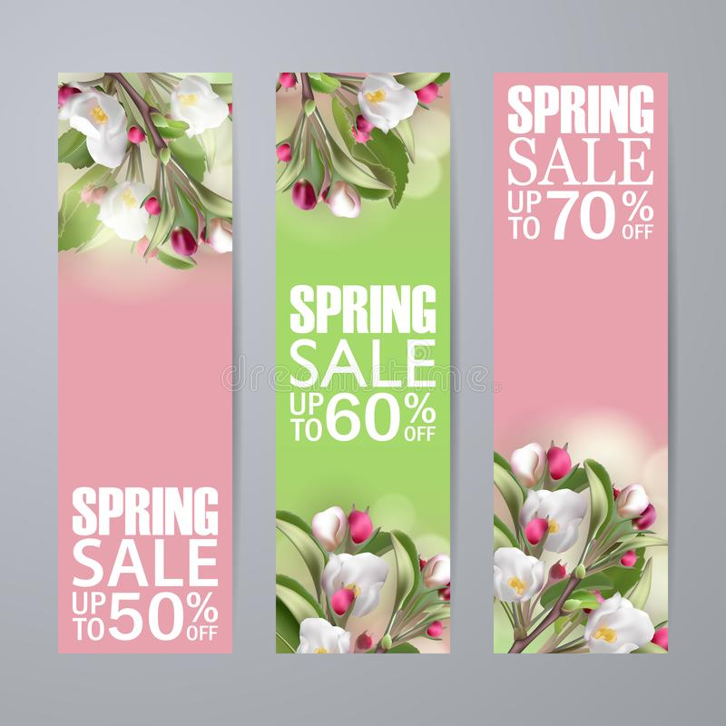 Set of vector spring sale vertical banners with sakura vector illustration